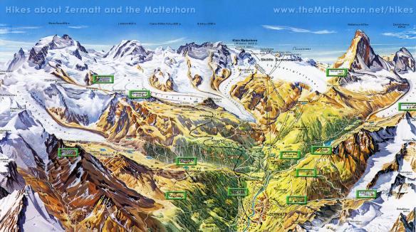 map of summer hiking trails above Zermatt