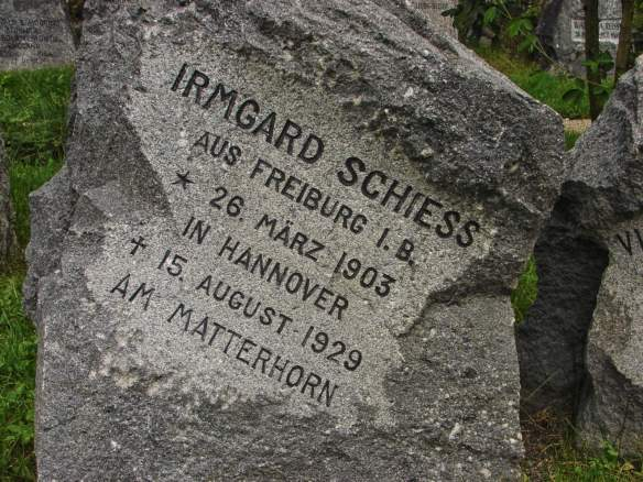 tombstone of a 26-year-old who died on the Matterhorn