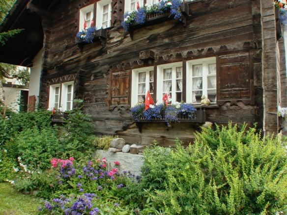 traditional wood house in Zermatt - side street