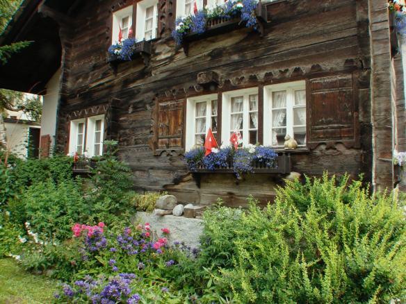 traditional wood house in Zermatt - side street