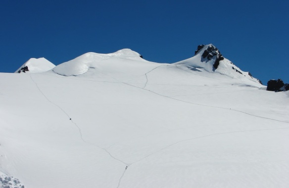 snow trails leading to Dufourspitze and Margherita Hut