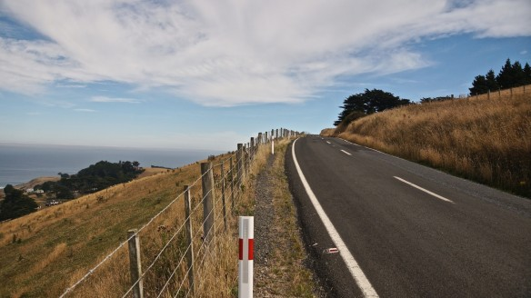 gentle uphill on the Otago Peninsula's Highcliff Road