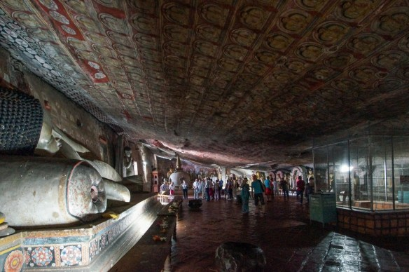 Dambulla Cave 2 reclining buddha, ceiling  mural and drip enclosure