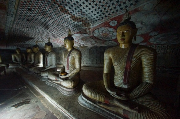 Dambulla Cave 2 row of seated buddhas