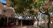 Buddhist monk residence with flags