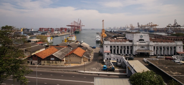 a view of Colombo harbour from the Grand Oriental Hotel