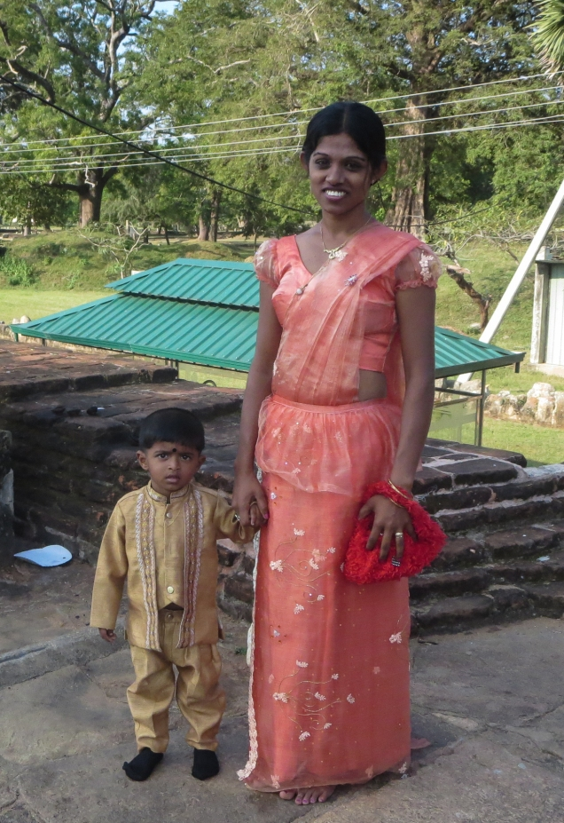 bridesmaid and small boy