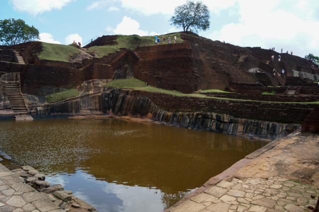 looking up to the top of the Sigiriya summit complex from the tank