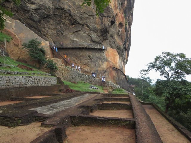 Sigiriya - descending from the summit past some terraces