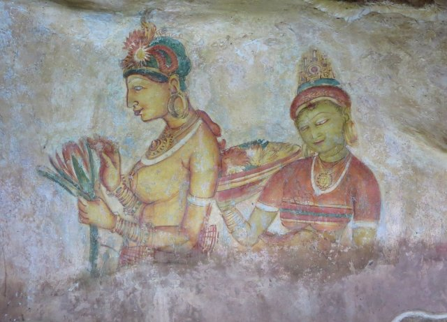 Sigiriya fresco of lady holding flowers