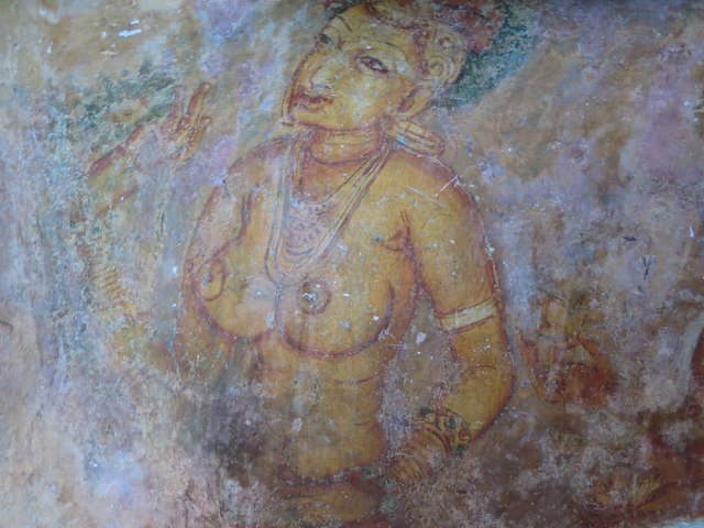 Sigiriya lady being offered a flower