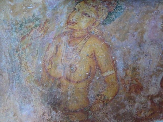 Sigiriya lady being offered a flower
