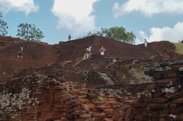 Sigiriya ruins - brick foundations  and staircases