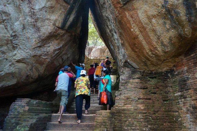 Sigiriya stairway through the boulder gardens