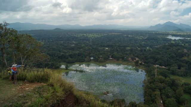the view from the south end of the summit area - Sigiriya Vava down below