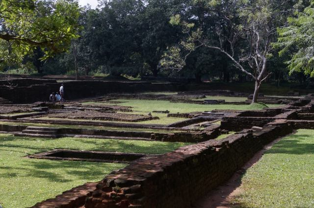 uncovered or reconstructed brick foundations along Sigiriya entrance path