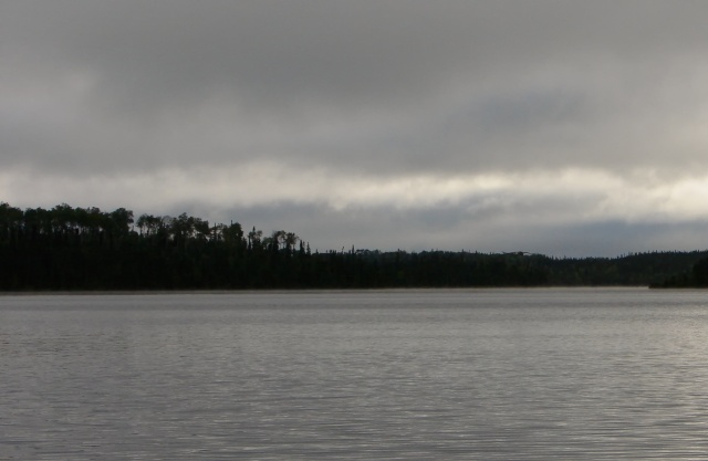 a grey day begins on Auger Lake
