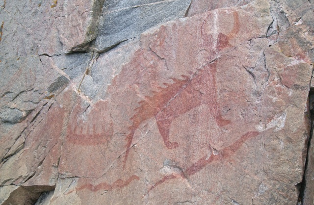 Mishipizheu pictograph at Agawa Rock