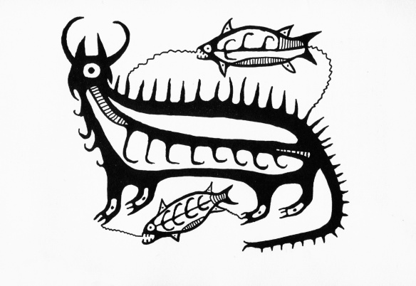 Norval Morrisseau. early 1960's Drawing of Mishipizheu and fish