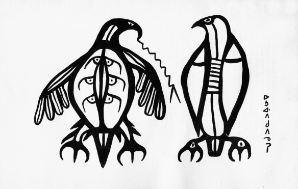 Morrisseau. early 1960's drawing of thunderbirds