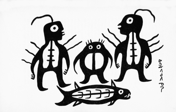 norval morrisseau (early 1960's) drawing  of maymaygweshi