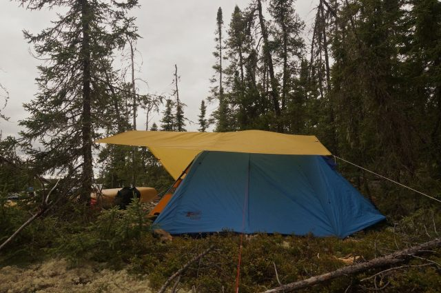 ready for the storm - tarp on top of tent