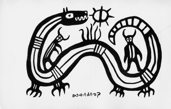 Norval Morrisseau. early 1960's drawing of Sun snake and fire worshippers