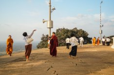 Cambodian pilgrims on Maha Dagoba terrace