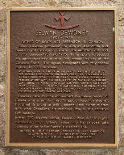 dewdney plaque at Agawa Rock