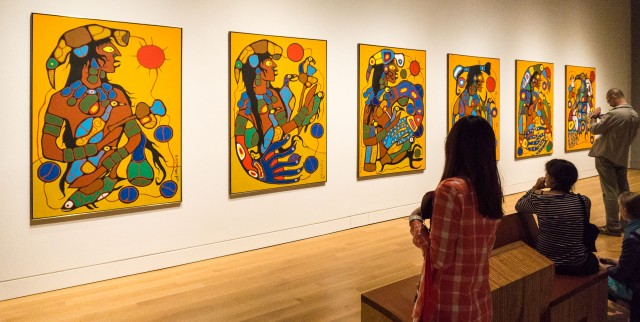 Morrisseau - the six panels of Man Changing into Thunderbird at the AGO