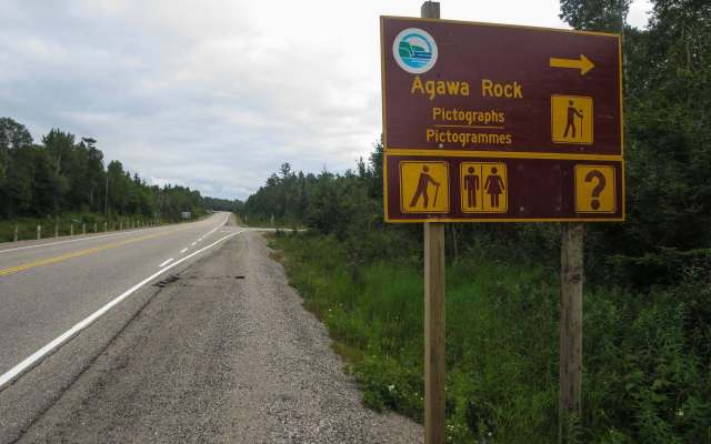 Agawa Rock Sign coming from Wawa