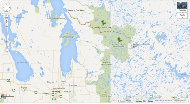 our route from Douglas Lake off Red Lake to Bloodvein First Nations village on Lake Winnipeg