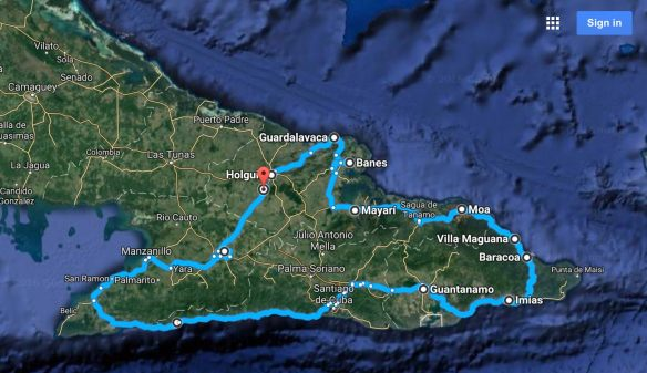 cuba-bike-tour-route