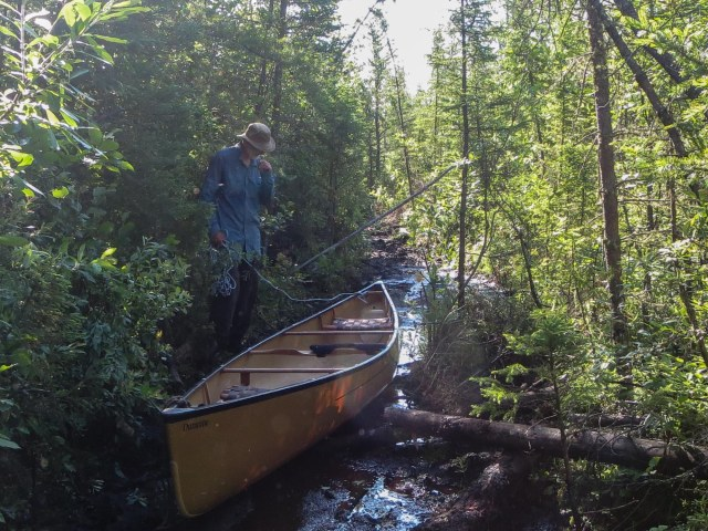Knox Lake portage - dragging the canoe