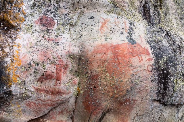 Artery Lake Face III - shaman and buffalo pictographs