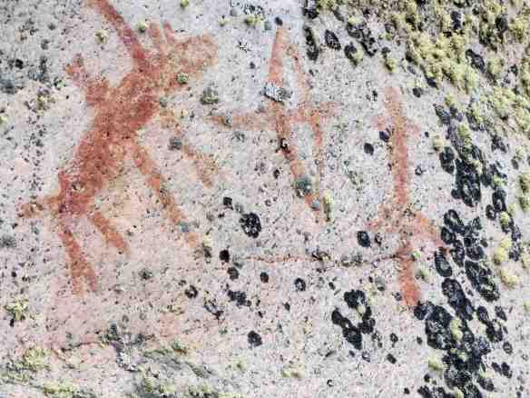 Artery Lake Pictograph Site- Face IV pictoraphs above the bison