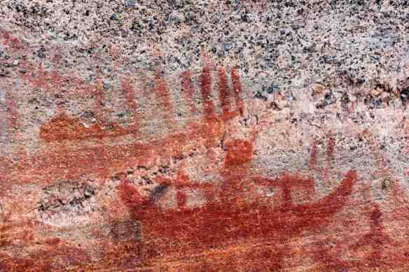 Artery Lake Pictographs. Face II detail - canoes and thunderbird