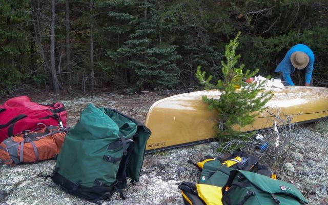 Day 3 - getting breakfast ready - tent spot was behind the canoe