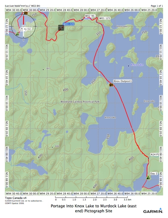 Bloodvein headwaters Canoe Trip Day 3 map