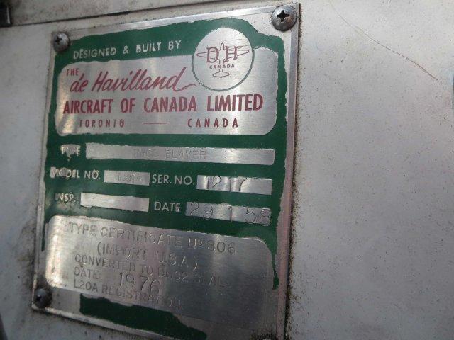 de Havilland Beaver serial plate