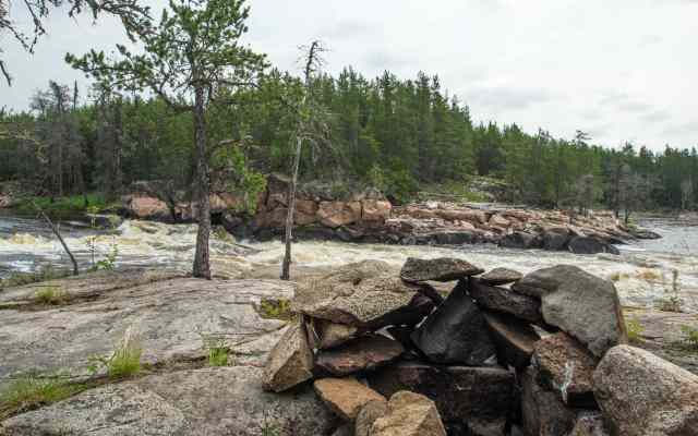 fire ring at island Chutes Rapids on the Bloodvein