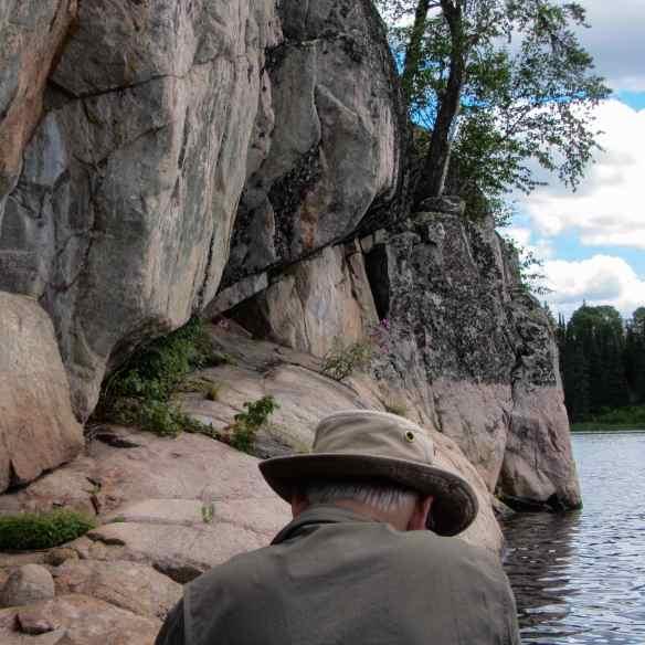 getting closer to Bloodvein pictograph site below Bushey Lake