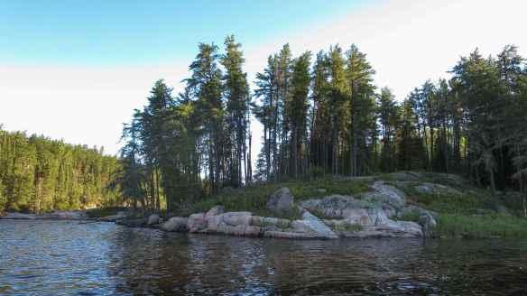 looking back at our Moosebone Rapids campsite