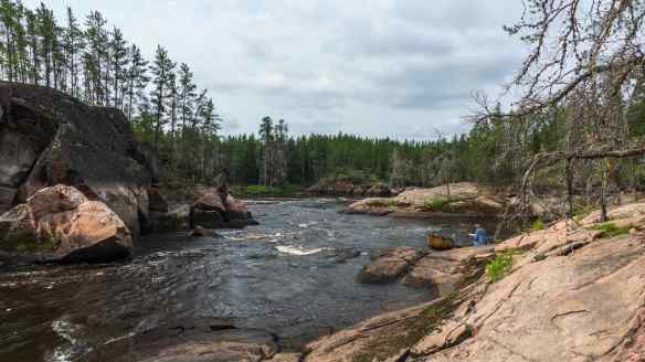 Max at the end of the portage at the Bloodvein's  Island Chutes Rapids (W61)