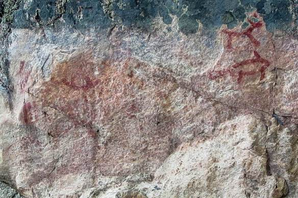 Murdock Lake pictographs - the enitre panel up close