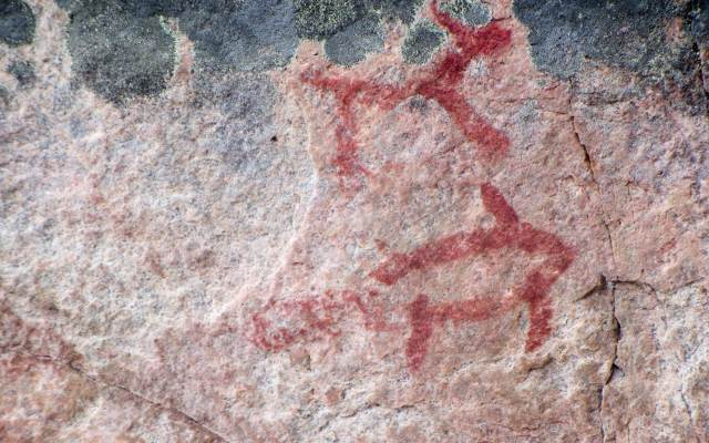 Murdock Lake pictographs - two up close