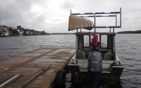 Red lake dock at 7:30 a.m.