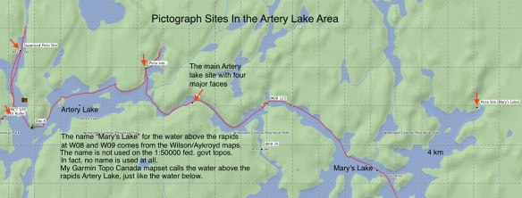 Reported Pictograph Sites on  Artery Lake and Mary's lake