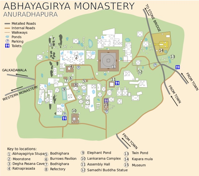 Abhayagiriya Monastery Area map created by Philg88 and found at Wikipedia