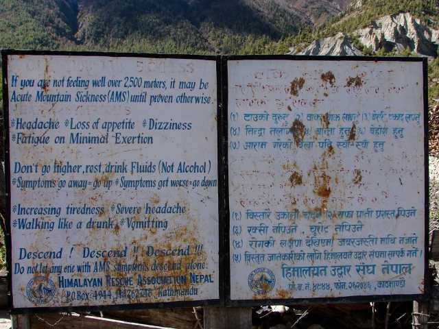 Acute Mountain Sickness (AMS) sign above Manang